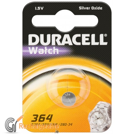 Duracell Watch Silver Oxide-Zinc Button Cell - SR60 (364)