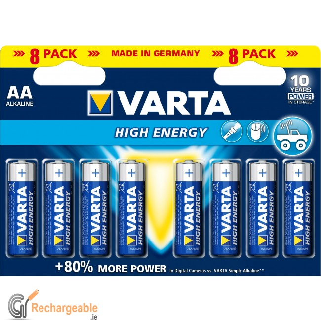 buy online varta high energy lr6 aa 8 x aa batteries in ireland. Black Bedroom Furniture Sets. Home Design Ideas