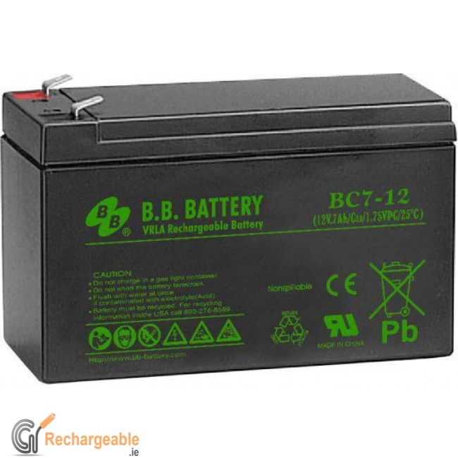 buy online sealed lead acid battery 12v 7ah bc in ireland. Black Bedroom Furniture Sets. Home Design Ideas