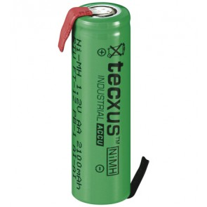 AA rechargeable battery with with solder tag