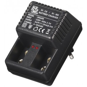 Charger for rechargeable 9V block NiCd and NiMH batteries