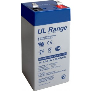 Ultracell Lead Acid Battery 4 V- 4.5Ah Faston (4.8mm)